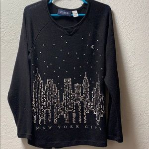Girls black New York City long sleeve
